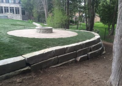 Fire Pit and Retaining Wall After