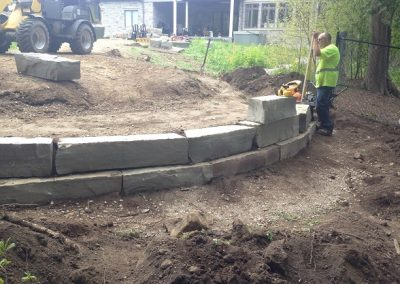 Fire Pit and Retaining Wall During