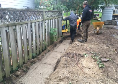 Sidewalk and Retaining Wall During